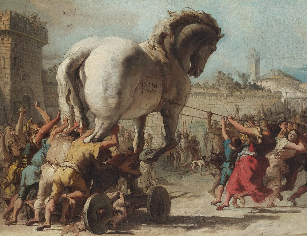 """The Procession of the Trojan Horse in Troy"" by Giovanni Domenico Tiepolo"